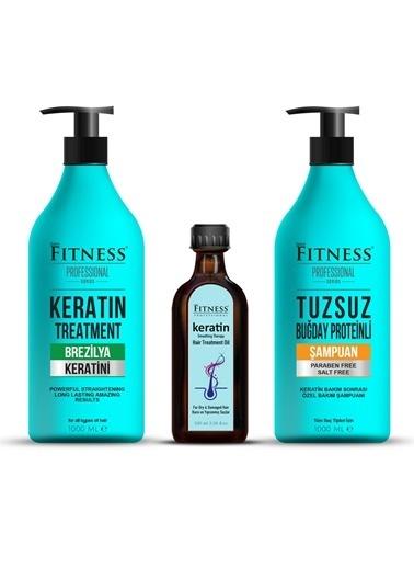 Fitness Professional Fitness Professional Saç Düzleştirici Keratin Bakımı 1000 Ml + Tuzsuz Şampuan 1000 Ml + Keratin Yağı 100 Ml Renksiz